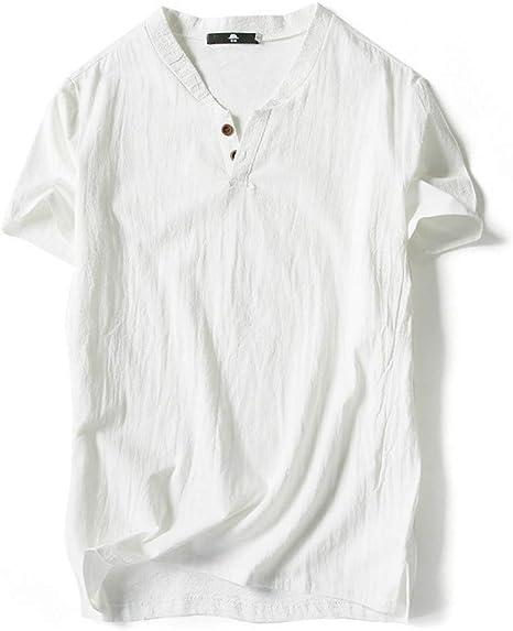 GKKYU Estilo Chino Lino Pantalones de Verano Camisa de Manga Larga Bordada de los Hombres de Hilados Bordados Camisa de algodón Retro de los Hombres: Amazon.es: Deportes y aire libre