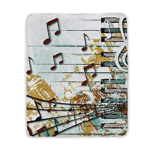DOSHINE Jeté de lit, Notes de Musique Vintage rétro Doux léger Warmer couvertures 127 x 152,4 cm pour canapé lit Chaise de Bureau