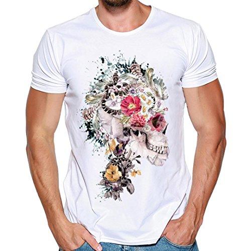 ボイコットスロー火山学者Hanaturu  tシャツ メンズ おしゃれ おもしろ 白 格好いいプリント柄 人気 花と髑髏 メンズプリントtシャツ 着心地いい 夏最適 ファション ホワイト 友達彼氏 プレゼント S-4L 大きいサイズ