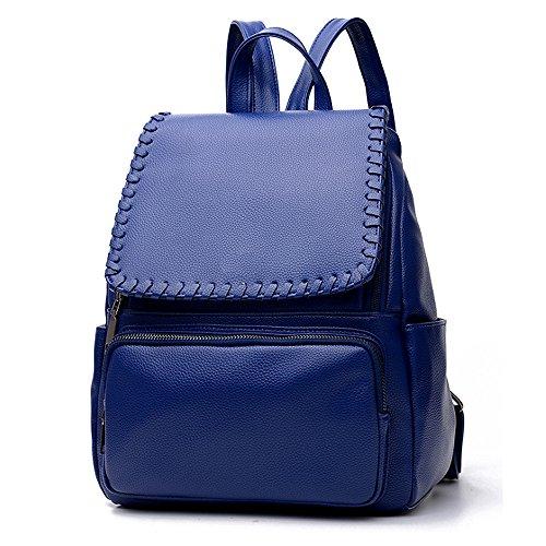 (JVP1035-B) mochila negro de cuero de LA PU de gran capacidad bolsa de viaje del bolso de las señoras bolsa hermosa bolso de hombro de 3 vías espalda moda popular escuela ligera suburbana Azul Marino