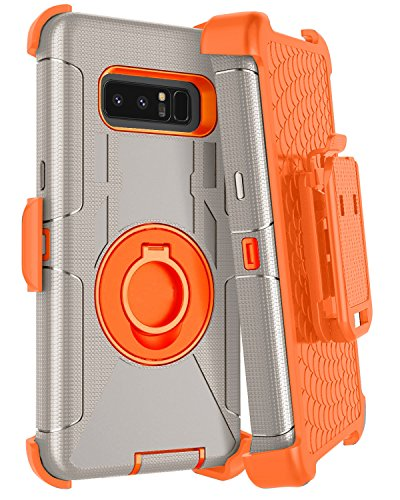 Samsung Note 8 Case, Galaxy Note 8 Case Belt Clip, Jwest Heavy Duty Shockproof Kickstand Full Body Rugged Bumper Hybrid Holster Protective Case for Samsung Galaxy Note 8 Grey/Orange