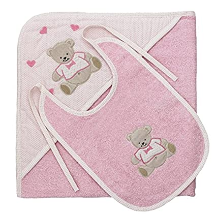 Harwoods - Juego de toalla con capucha y babero para bebé - Oso - Rosa