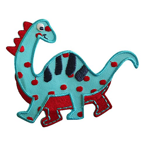 2 iron-on appliques set - Diplodocus 10X8Cm and Crocodile 9X3Cm embroidered application set by TrickyBoo Design Zurich -
