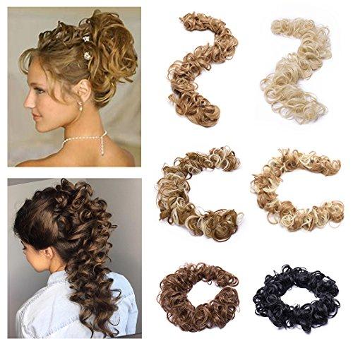 SEGO Twirl Hair Band Updo Hairpiece Extension Messy Curly Hair Bun Extension Wrap Around Scrunchy Dark Blonde & Bleach Blonde