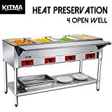 110 V Commercial Electric Food Warmer - Kitma 4 Pot Stainless Steel Steam Table, Buffet Server for Kitchen and Restaurant
