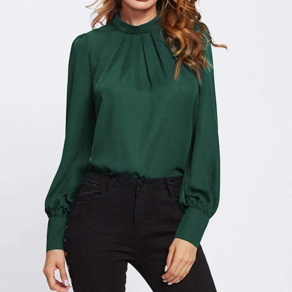 Enrique Herndon Stand Collar Chiffon Workwear Tops Office Ladies Long Sleeve Regular Fit