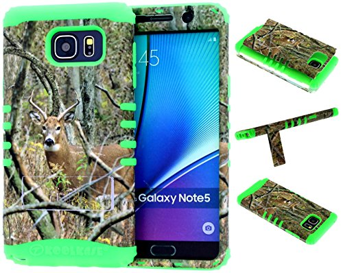 Galaxy Note 5 Case, Hybrid Kickstand Shockproof Impact Resistant Cover Real Deer Camo Mossy Leaf Branch Over Lime Green Silicone Skin for Galaxy Note 5 Cover