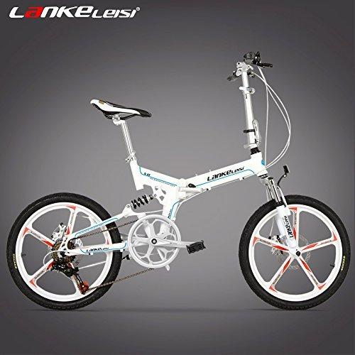 V8 20インチ折りたたみ自転車、一体型マグネシウム合金リム、両方のディスクブレーキ、最高品質のスピードコントロールシステム、7スピード  白 B0792R7T9Q