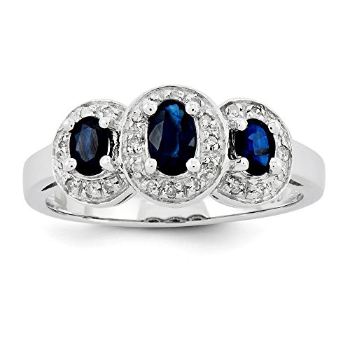 Sterling Silver Rhodium-plated Sapphire & Diamond Ring by CoutureJewelers