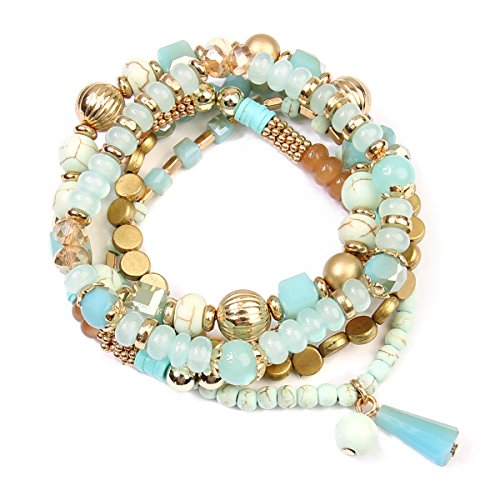 RIAH FASHION Bead Layering Multi Color Statement Bracelets - Stackable Beaded Strand Stretch Bangles (Turquoise)