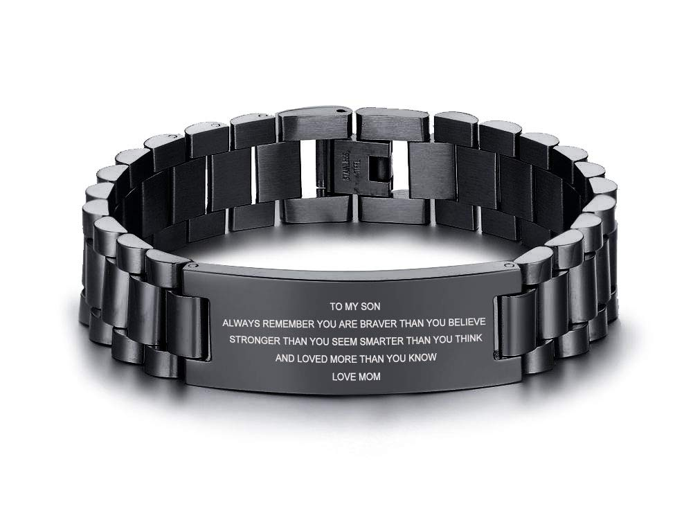 MEALGUET Stainless Steel to My Son Love Mom Courage Inpsirational Wristband Bracelets, Birthday Gifts to Son to Son,Son Bracelet from Mom and Dad,Love Son Gift