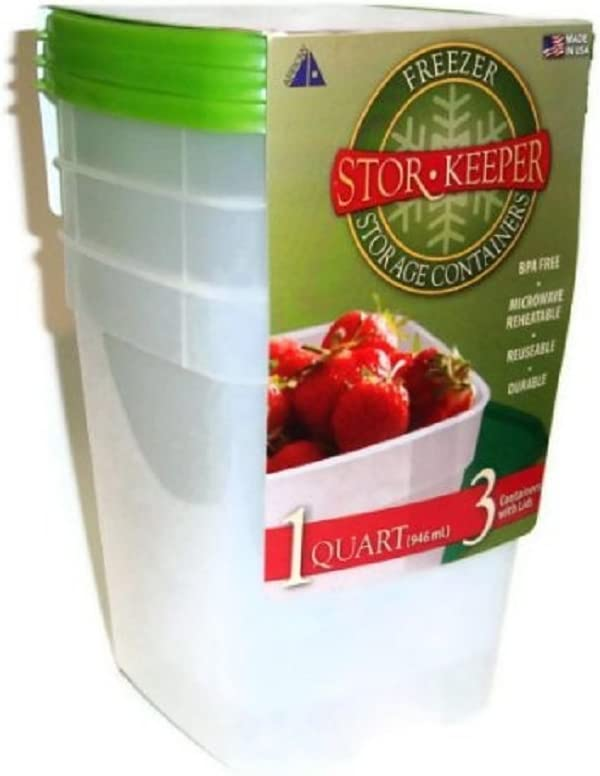 Stor Keeper Quart Freezer Storage Containers 3-pack