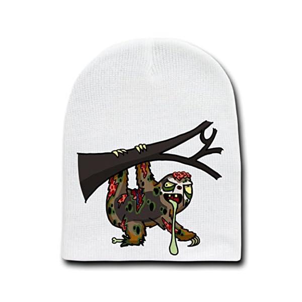Zombie Sloth Funny Animal Zombie Cartoon - White Beanie Skull Cap Hat -