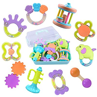 iPlay, iLearn 10 Baby Rattles, Infants Teething Toys, Babies Teether, Ball Shaker, Grab, Spin Rattle, Musical Play Gift Set for 0, 1, 2, 3, 4, 5, 6, 7, 8, 9, 10, 12, 18 Month Old Newborn, Boy, Girl by iPlay, iLearn that we recomend personally.