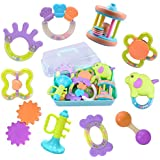 Deals 10 Baby Rattles, Infants Teething Toys, Babies Teether, Ball Shaker, Grab, Spin, Musical Sounds Play Gift Set for 1, 2, 3, 4, 5, 6, 7, 8, 9, 11, 12, 18 Month Year Olds Newborn, Boy, Girl, Kids