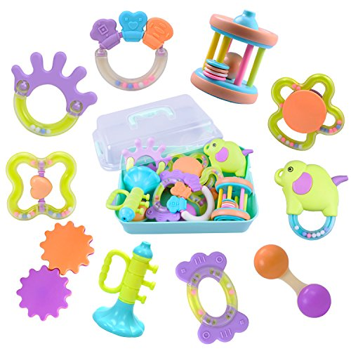 10 Baby Rattles, Infants Teething Toys, Babies Teether, Ball Shaker, Grab, Spin Rattle, Musical Play Gift Set for 0, 1, 2, 3, 4, 5, 6, 7, 8, 9, 10, 12, 18 Month Old Newborn, Boy, Girl - iPlay, iLearn (Motor Development Infant)