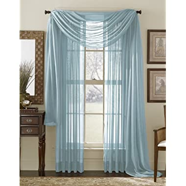 3 Piece Blue Sheer Voile Curtain Panel Set: 2 Blue Panels and 1 Scarf