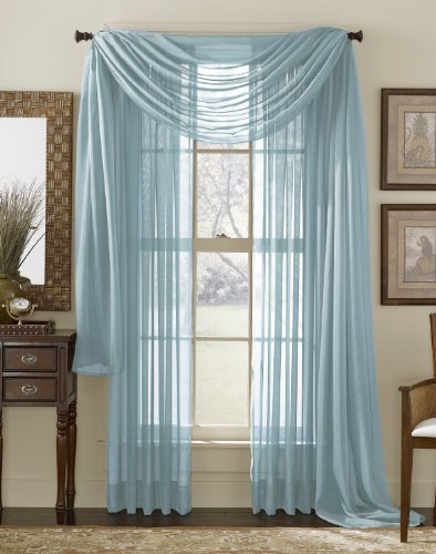 3 Piece Blue Sheer Voile Curtain Panel Set: - Blue Sheer Curtain Panels