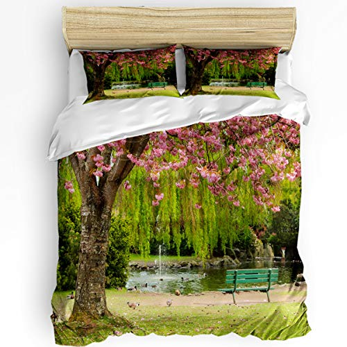 YEHO Art Gallery Full Duvet Cover Sets for Women Men Bedding Sets,Romantic Cherry Tree Pigeon Bench Lake Park Scenery,Soft and Comfortable Duvet Cover Set Include 1 Comforter Cover with 2 Pillowcases -