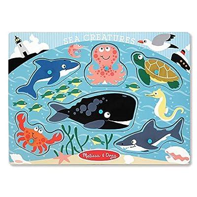 Melissa & Doug Sea Creatures Wooden Peg Puzzle (6 pcs): Melissa & Doug: Toys & Games