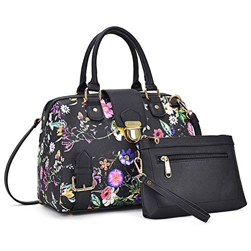 Dasein Women Barrel Handbags Purses Fashion Satchel Bags Top Handle Shoulder Bags Vegan Leather Work Bag Black Flower