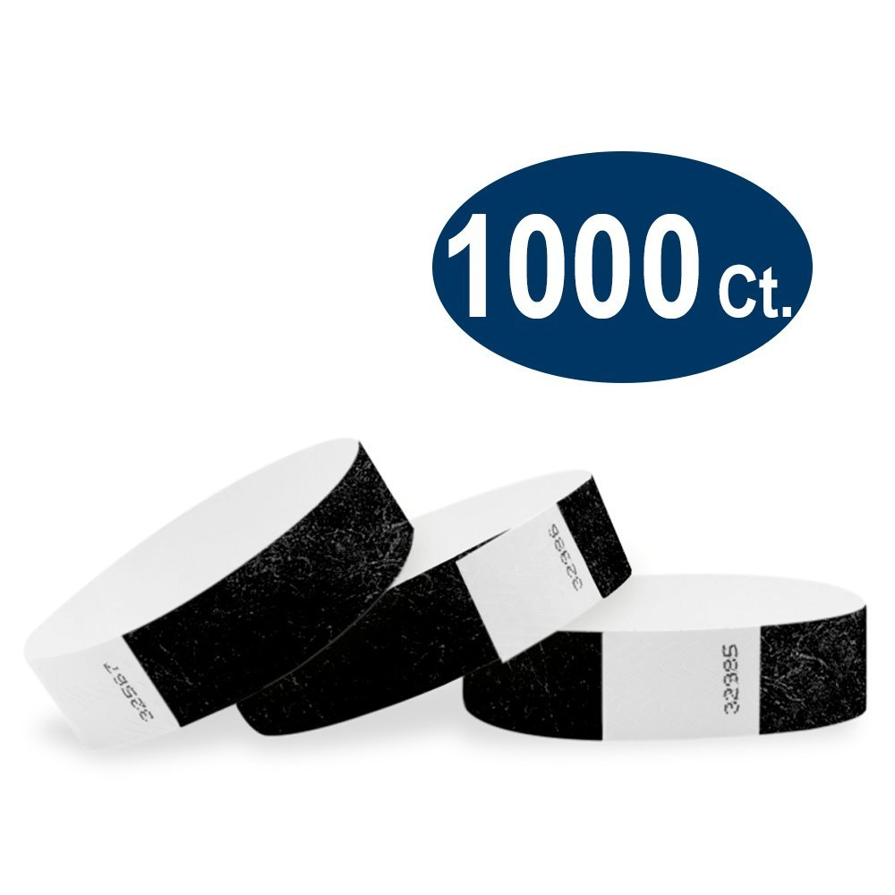 WristCo Black 3/4'' Tyvek Wristbands - 1000 Pack Paper Wristbands for Events by Wristco