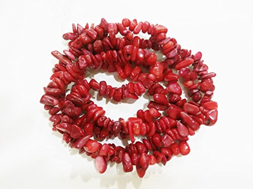 Bracelet Chip Red Coral (jennysun2010 Natural Gemstone 4-8mm Chip Beads 32'' - 35'' Red Coral Hematite Turquoise Malachite Coral 1 Strand for Bracelet Necklace Earrings Jewelry Making Crafts Design Healing)