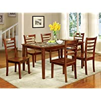 Furniture of America Venice 7-Piece Faux Marble Top Dining Set, Antique Oak