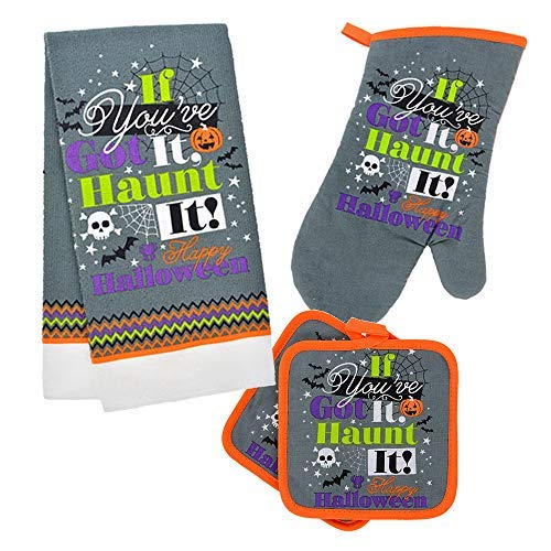 Halloween Kitchen Towel and Pot Holder Set (Haunt It)]()