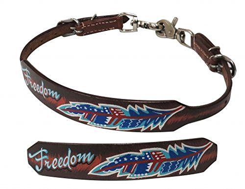 Showman Adjustable Medium Leather Wither Strap with Red White Blue Painted ''Freedom'' Feather Design Snaps by Showman