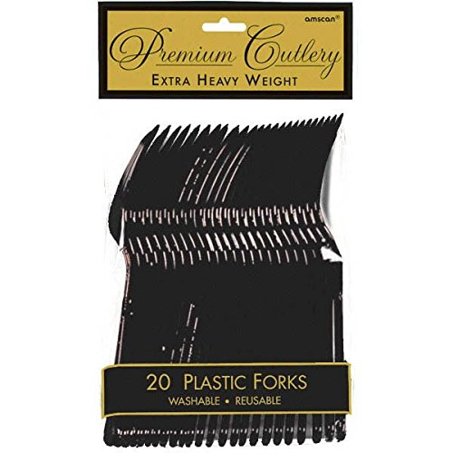 Premium Heavy Weight Plastic Forks | Jet Black | Pack of 20 | Party Supply ()