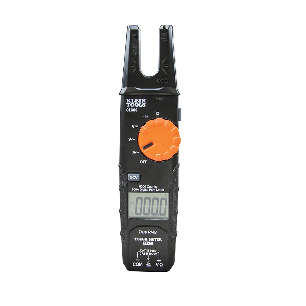 Klein Tools CL360 200A Open Jaw Fork Meter, AC Current Sensor, also Tests AC/DC Voltage, Continuity, Resistance