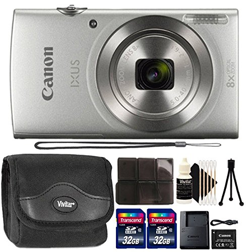 Canon Ixus 185/Elph 180 20MP Digital Camera Silver with 32GB Accessory Kit