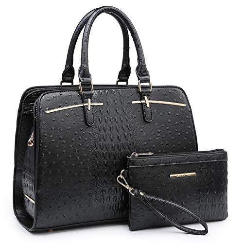 Women Handbags Satchel Purses Top Handle Work Bag Briefcases Tote Bag With Matching Wallet (4-Ostrich Black)
