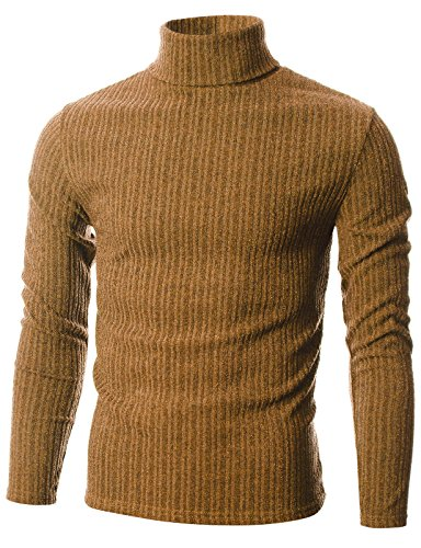 GIVON Mens Slim Fit Wide Ribbed Cotton Blend Turtleneck Pullover/DCP036-CAMEL-M