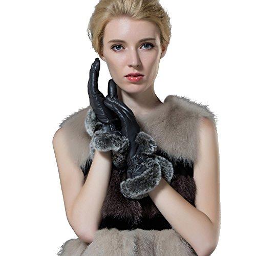 【GSG】大売り出し 手袋レディース レザーグローブ ラビットファー付き 本革 羊革 グローブ ファー 手袋 ファッション ブラック12193