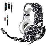 ECOOPRO Newest Gaming Headset with Mic for PS4, Xbox One, PC, Nintendo Switch, Pro 50mm Driver, 3.5mm Surround Stereo Game Headphone with Noise Cancelling Microphone, Soft Memory Earmuffs, LED Lights