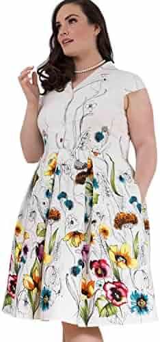 60b26356807 Emily London Womens Plus Size Taylor Retro Style Border Shirt Dress White    Black