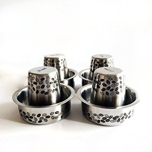 Hot Muggs Kaapi Tumbler & Dabra Stainless Steel Set of 8; 4 Glasses + 4 Vatis Standard - South Coffee Filter Indian