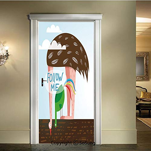 baihemiya Modern Art 3D Door Sticker,Ostrich and Rooster Eating on Roof Birds with Long Necks and Follow Me Label Decorative,W30.3xL78.7inch,Removable Door Decal for Home DecorMulticolor