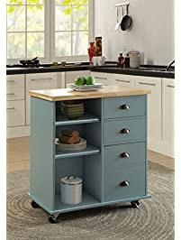 Oliver And Smith   Nashville Collection   Mobile Kitchen Island Cart On  Wheels   Blue Grey