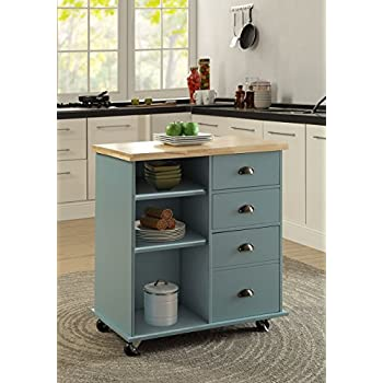 walmart butcher block kitchen cart smith collection mobile island wheels blue grey natural oak on canada