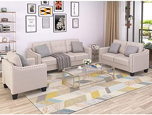 STARTO Sectional Sofa, 3 Piece Living Room Furniture Set Include Armchair Loveseat CouchTufted Cushions for Home or Office, Beige