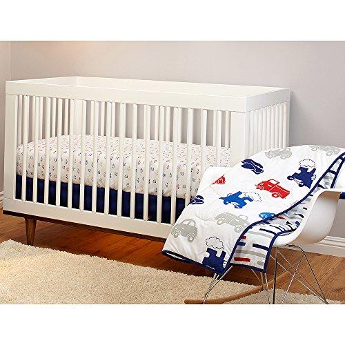 3 Piece White Blue Red Cars Baby Bedding Set, Vehicle Themed Newborn Nursery Bed Set Infant Child Trucks Trains Planes Reversible Bold Border Stripe Pattern Blanket Comforter, Polyester Cotton