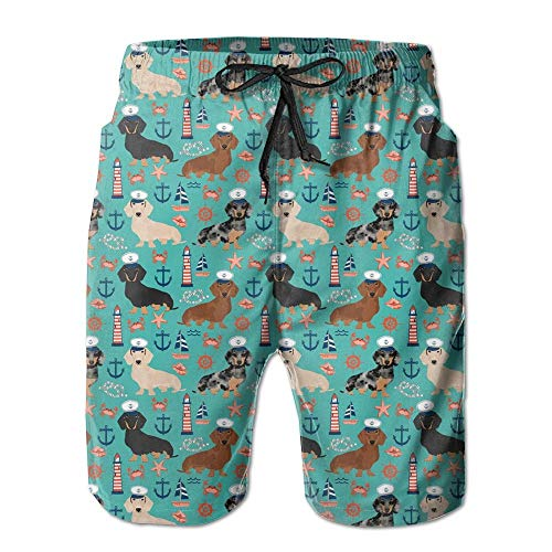 Dachshund Sailors Nautical Dog Pattern Beachwear Board Shorts Swim Trunk ()
