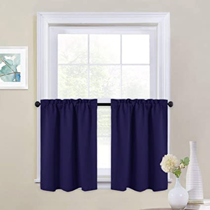 Amazon.com & NICETOWN Navy Blue Kitchen Valances - Energy Smart Blackout Rod Pocket Tier Panels for Half Windows (29W by 24L Inches Set of 2)
