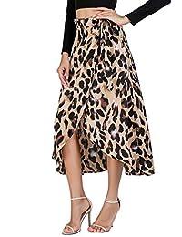 Verdusa Falda de Cintura Alta con Estampado de Leopardo para Mujer