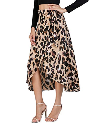 Verdusa Women's Waist Knot Leopard Print High Waist Wrap Split Skirt 0-Multicolor XL