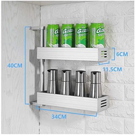 スペースアルミ、キッチンラック、収納ラック、回転式スパイスラック、多機能ウォールマウント、パンチフリーコーナーフレーム、多層、ブラック、シルバー (Color : Silver, Size : Two floors)