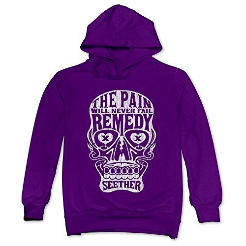 Tea Time Men's Hoodie Seether Skeleton Skull Purple Size (Hair Dryer Wind Up)